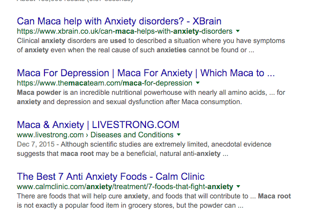 does maca help with anxiety