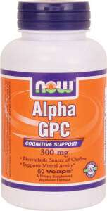 a supplement for cognitive support, now foods alpha gpc comes in 300mg veg capsules