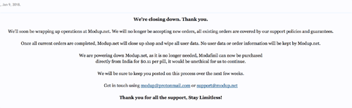 modup closed