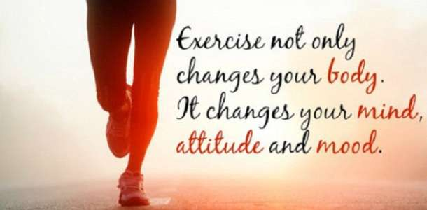 motivational image quote illustrating the mental health benefits of exercise in 2017