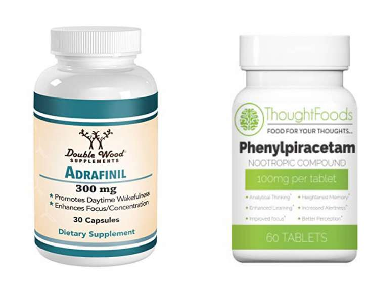 image of two nootropics bottles - adrafinil and phenylpiracetam, and comparing the two